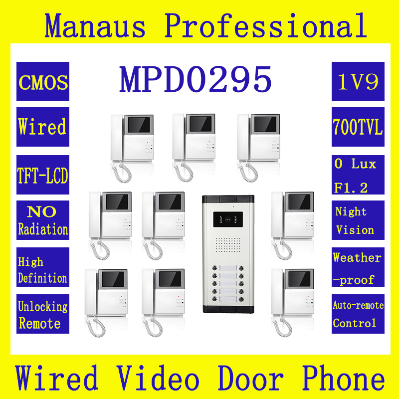 "Hot Selling One to Nine Video Doorphone 4.3"" TFT LCD Multi-storey Residential Buildings With Straight Touch Video Intercom D295b(China (Mainland))"