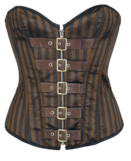 + 2015 New Bronze Steel Bone corset overbust Steampunk Brown leather belt Women Waist Training Cincher - DUMI Fashion Store store