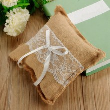 Lowest Price Beautiful Linen With Double Bow Ribbon And Lace Romantic Wedding Ring Pillow Cushion Home Decoration(China (Mainland))