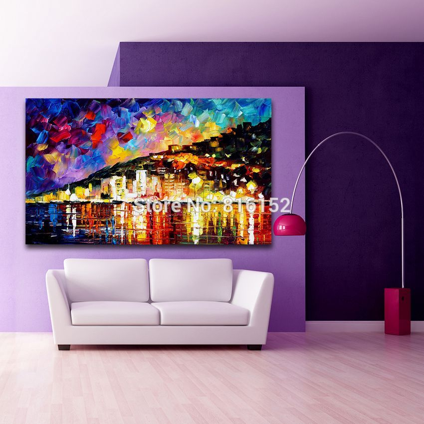 Buy Modern Palette Knife Mural Art 100% Hand-painted Riverside City Canvas Painting Frameless Image for Home Decoration cheap