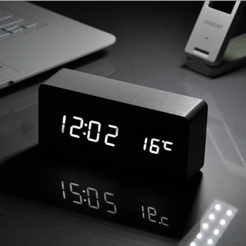 White LED wooden Board alarm clock+Temperature thermometer digital table clock voice activated,Battery/USB power / despertador(China (Mainland))