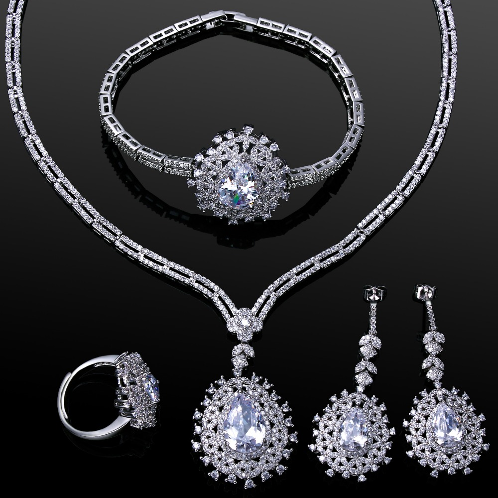 2016 New Wedding Jewelry! White Gold Plate 4pcs Sets Luxury Jewelry Sets For Brides Party Sets(China (Mainland))