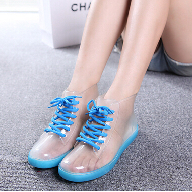 Personality Woman Sweet Color Block Low Rainboots Summer Style Low Rain Shoes Clear Jelly Rain Boots Blue Green Yellow Pink(China (Mainland))