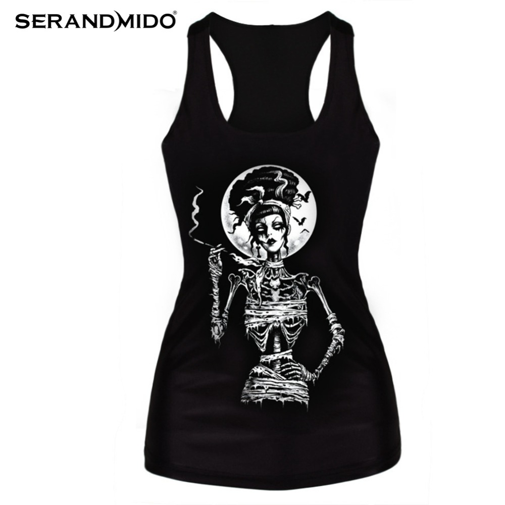 Clothing new 2015 women t-shirt black vest tops 3D print ribs skull bone camisole knitted polyester horror Sexy Tank top SMV018(China (Mainland))