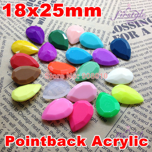 200Pcs/Lot 18x25 mm Solid Matte 40 Colors Superior Taiwan Acrylic Pointback Fancy Stones Pear Droplet Shape Rhinestone<br><br>Aliexpress