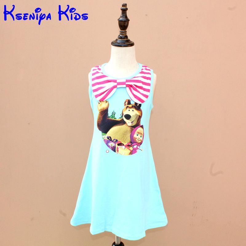 Olike Brand Baby Girl Dress Cotton Soft Summer Girl Dress Princess Cartoon Masha Kids Dresses for Girls Clothes Christmas Gift(China (Mainland))
