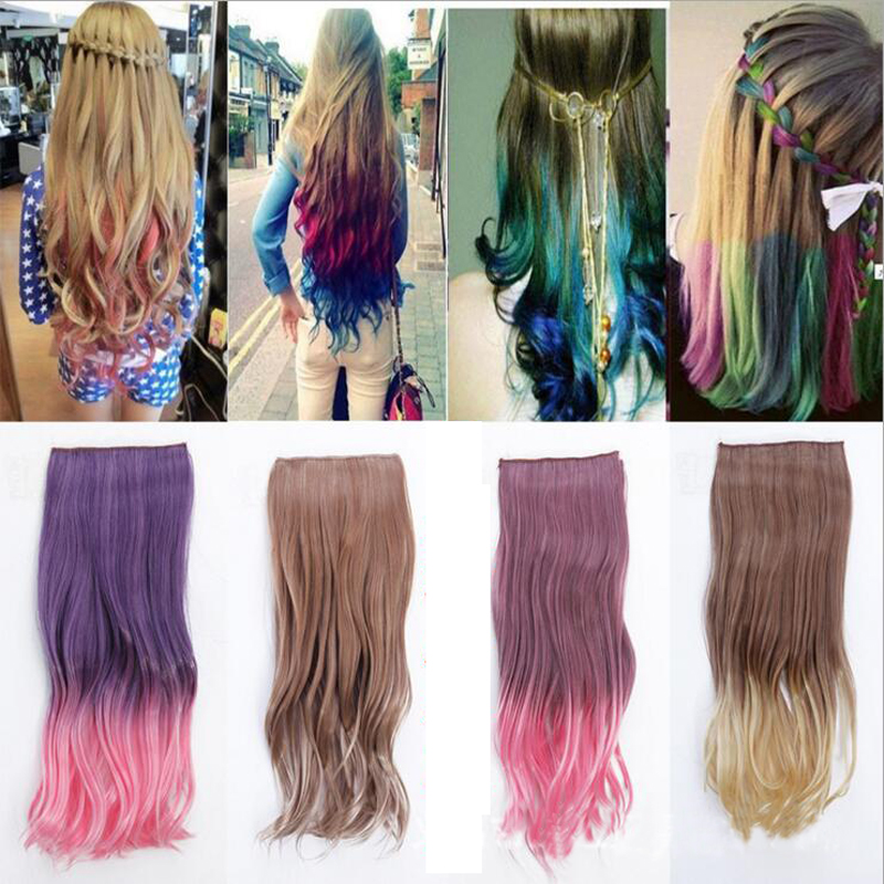 Free Shipping 5 Clip-In Ombre two tone Clip in Hair Extension 120g 55cm 22 inch length heat resistant fading clip on hair weft<br><br>Aliexpress