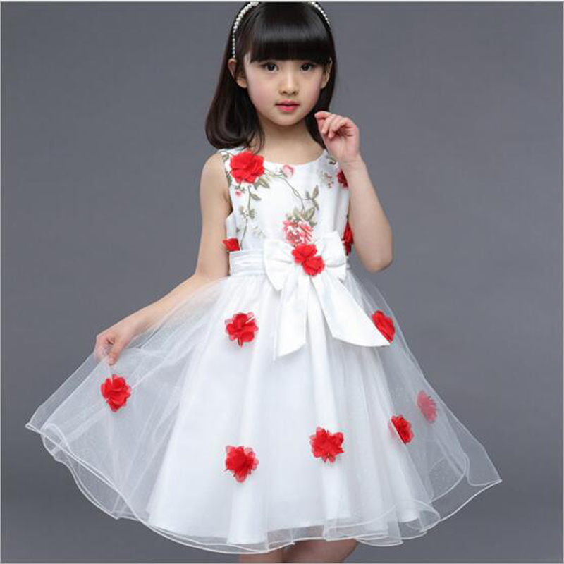 4-5-6-7-8-9-12Y Childrens Clothing Summer Girl Korean Weeding Dresses Princess Floral Dress Kids Girls Casual Party Clothes Wear(China (Mainland))