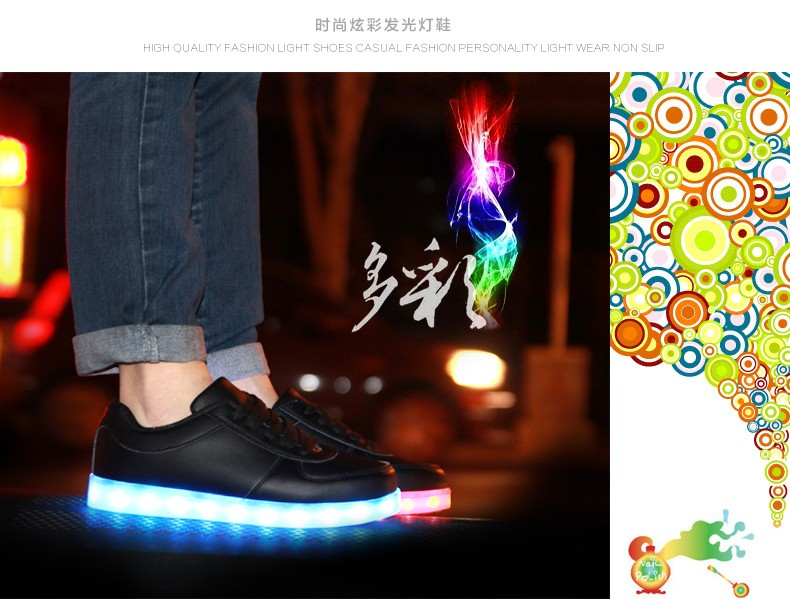 Led shoes for adults Fashion Light Up Casual Shoe 8 Colors Outdoor Glowing Men Women black white led luminous shoes size 35-46