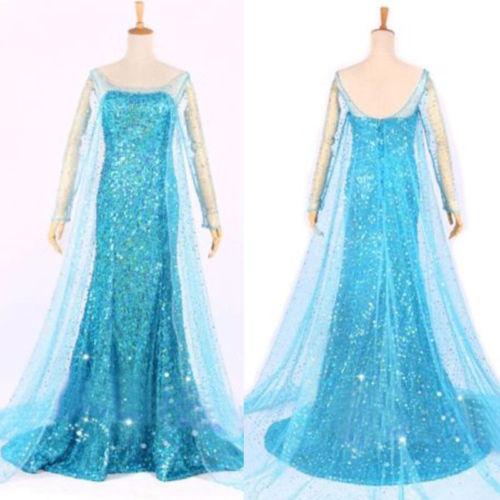 Elsa Queen Princess Adult Women Evening Party Dress Costume Elsa Dresses(China (Mainland))