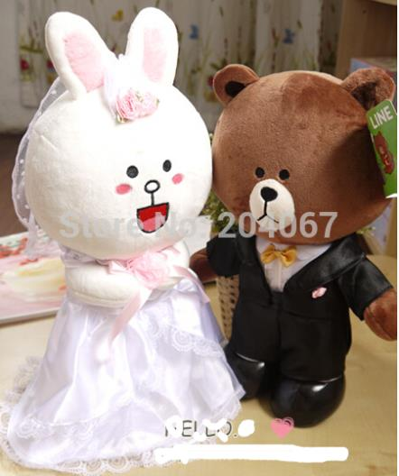 Soft Wedding GIFT Toy Bear with rabbit TOYS Wedding bears 30cm size 1pair plush toy LINE Free shiping mty024(China (Mainland))