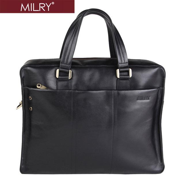 Free Shipping Italian Designer Brand MILRY 100% Genuine leather briefcase Handbags shoulder messenger laptop bag for men P0002-1