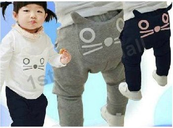 free shipping! 5pcs/lot baby girls/boys' autumn NEW ARRIVAL pants  cat modelling trousers  Harem pants  cotton trousers  outfits