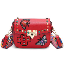 Buy 2017 Fashion Embroidery Floral Rivet New Style Women Sling Bag Girls Butterfly Wide Strap Vintage Shoulder Crossbody Hand Bag for $17.77 in AliExpress store