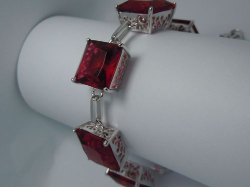 Avoid freight silver jewelry wholesale custom impressive 100% natural ruby square 925 silver bracelet(China (Mainland))