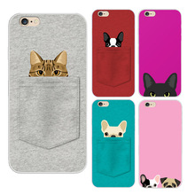 2015 New arrival Pocket Cat And Dogs Lovely pattern Soft TPU Back Cover case phone case for For Iphone 5 5s 6 6s 6Plus 6s Plus