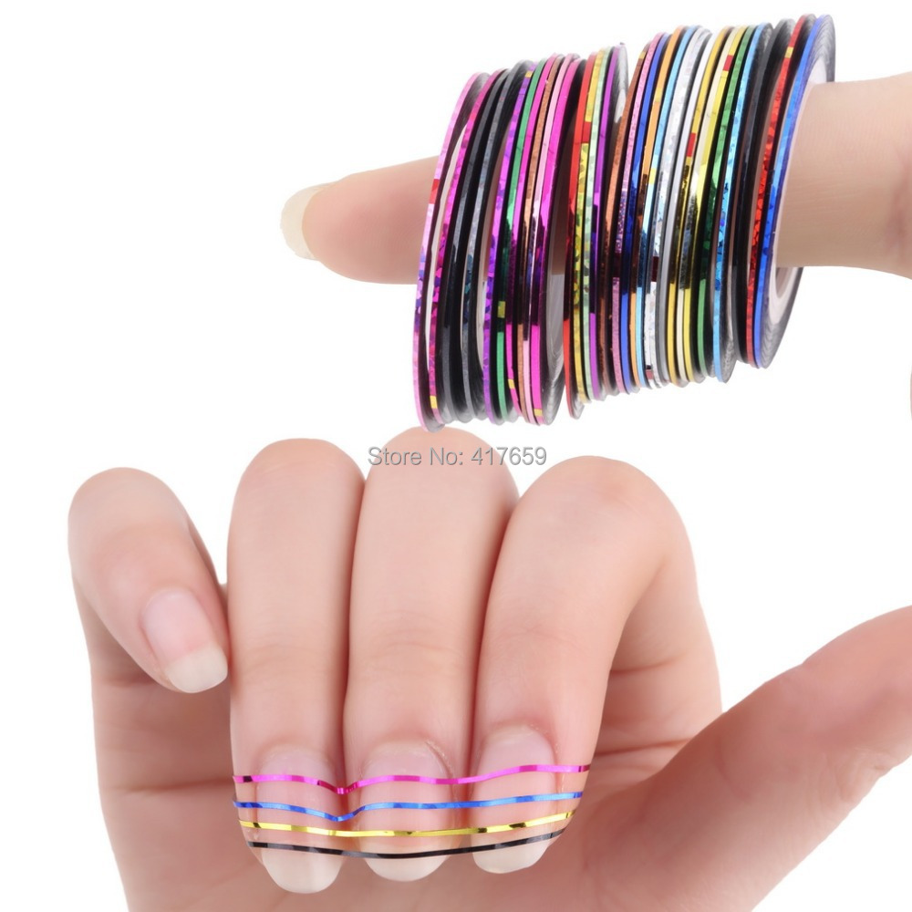 30Pcs Mixed Colorful Beauty Rolls Striping Decals Foil Tips Tape Line DIY Design Nail Art Stickers for nail Tools Decorations(China (Mainland))