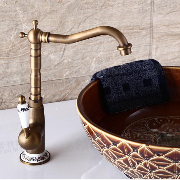 Купить Ретро стиль латунь высокий длинная шея ванной бассейна смесители бортике одну керамические бассейна ручка