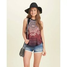 HOT 2016 new lady BOHO flower prints v neck chiffon cotton combined tank tops woman summer vacation casual pullover tees 228316(China (Mainland))