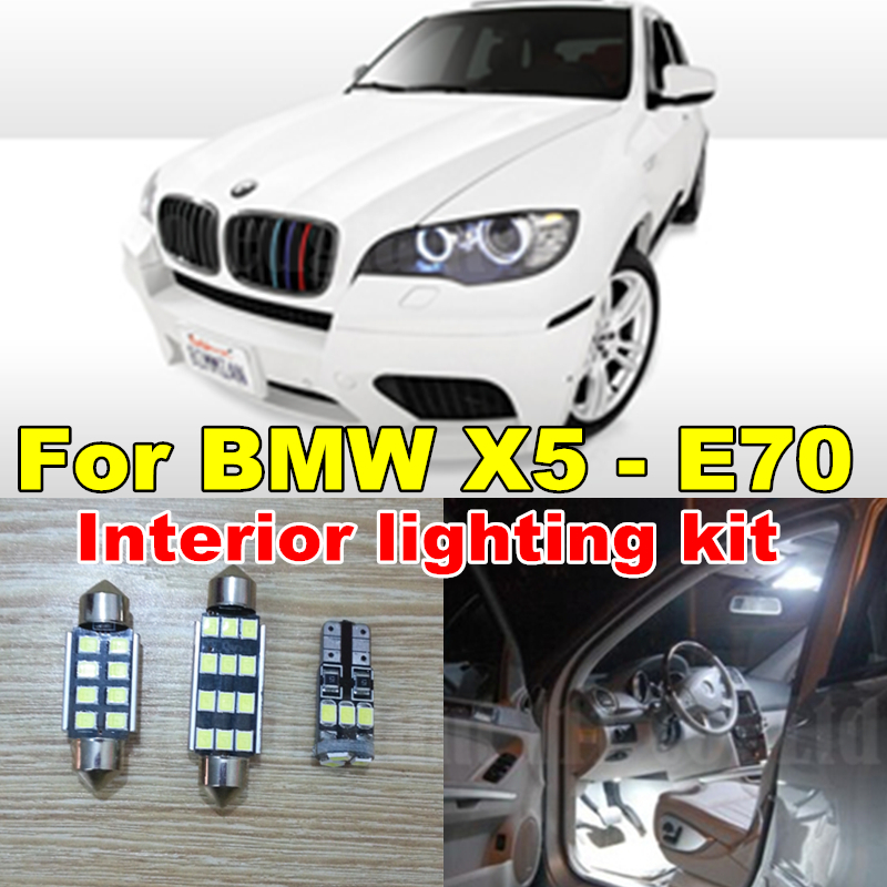 20x Pure White Error Free Car Dome Vanity Puddle Footwell Canbus Light BMW X5 - E70 LED Interior light Lamps Kit 2007 2013 WLJH Carparts Store store