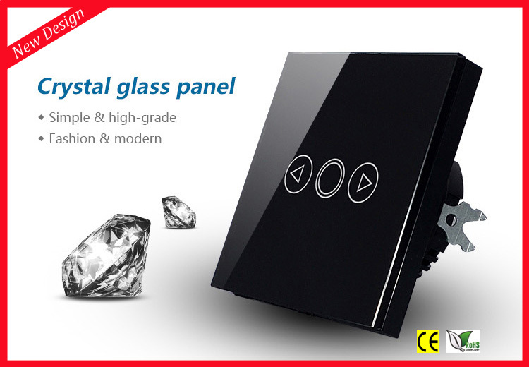 EU Standard Touch Light Dimmer Switch 220V , 1 Gang Way Black Crystal Glass Panel blue LED backlight - Fashion Home store