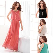 Hot-sale New Women Ladies Boho Maxi Dress Chiffon Sleeveless Pleated Long Sundress M L XL ,Free shiipping(China (Mainland))