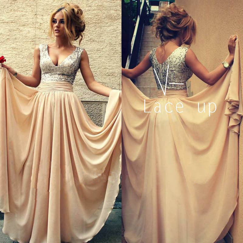 Hot 2016 A-line Deep V-neck Floor Length Champagne Chiffon Sequins Long Evening Dresses Evening Gown Prom Dresses Prom Gown(China (Mainland))