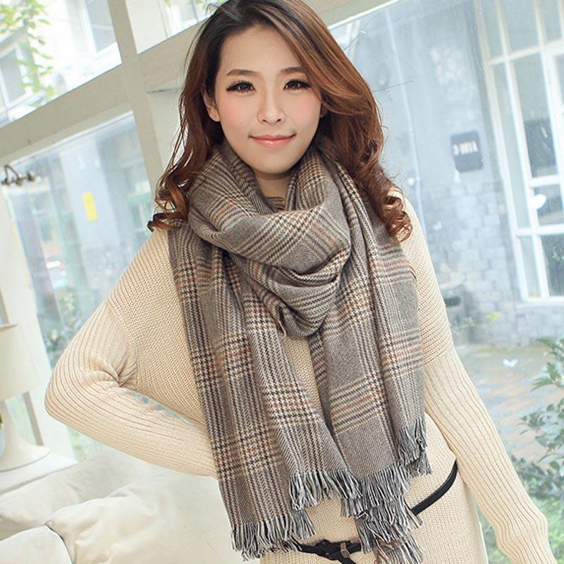 Trendy Women Cozy font b Tartan b font Stylish Warm Long Blanket Scarf Wrap OverSized Shawsl