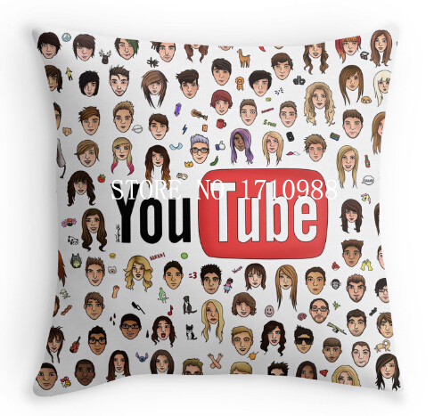 YouTubers Pillow Cases (two sides) for 12x12 14x14 16x16 18x18 20x20 24x24 inch free shipping(China (Mainland))