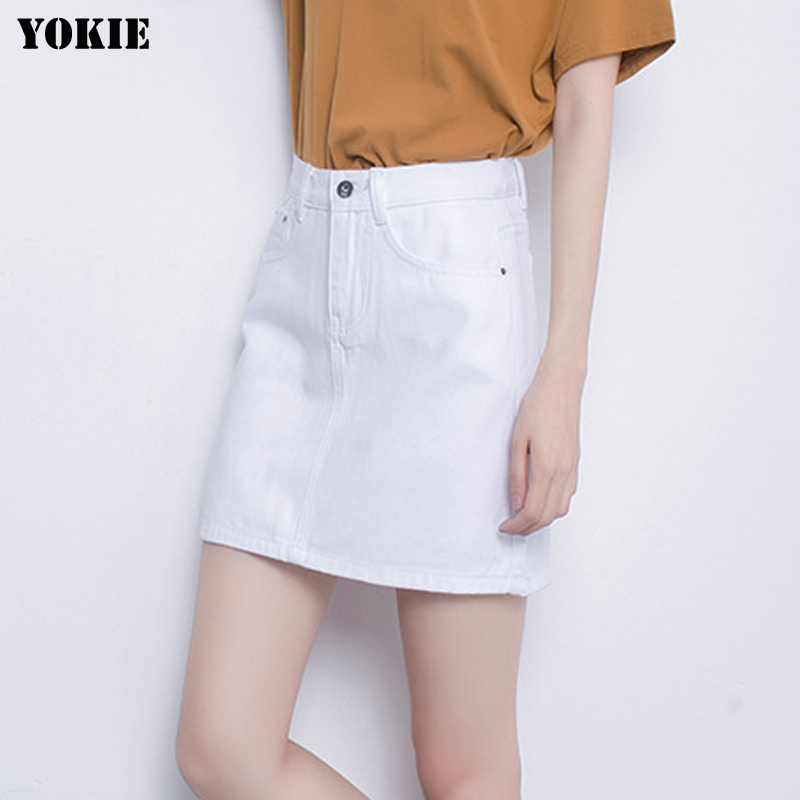 Summer style Denim skirts womens A-line high waist cotton button casual mini casual jean skirts White pink black Plus size S-3XL(China (Mainland))