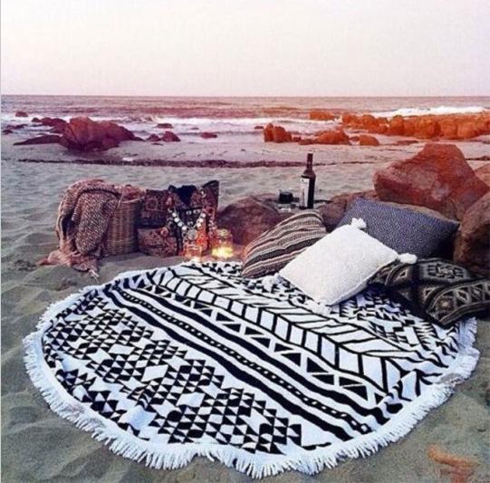 2016 aliexpress eBay Europe wind new plush printing round beach fringed beach towel towel(China (Mainland))