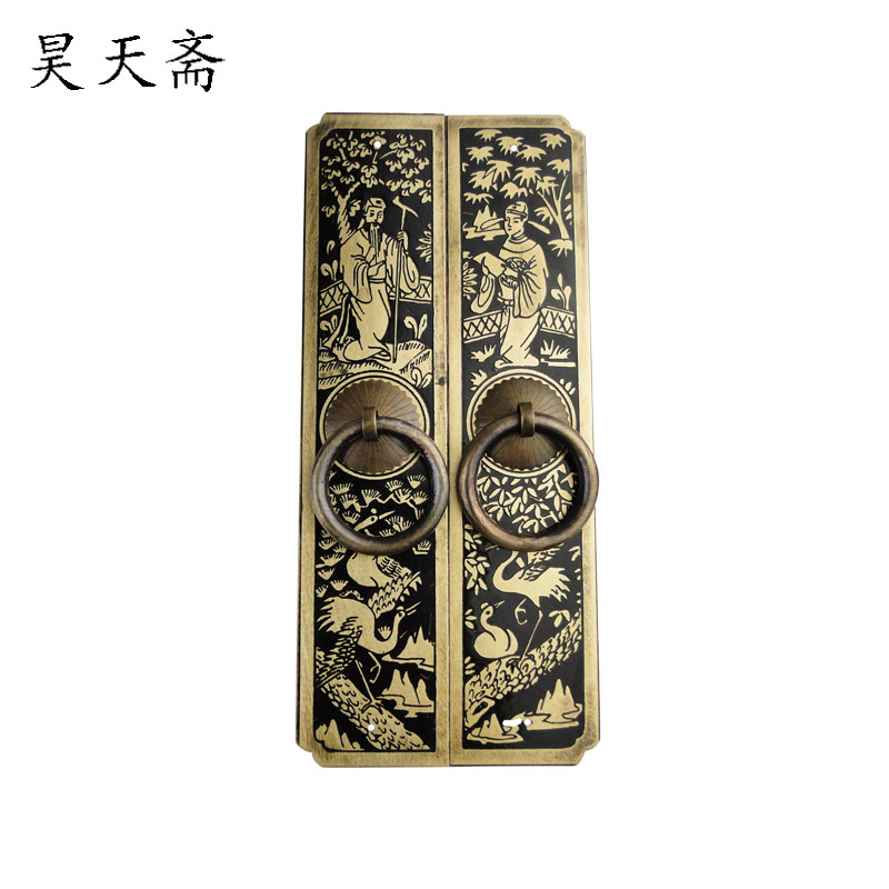 [Haotian vegetarian] copper door handle carved antique Chinese straight handle HTC-182<br><br>Aliexpress