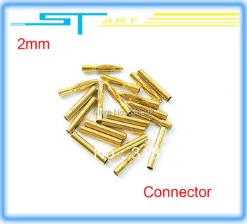 100pairs/lot  female and male 2.0mm 2mm 2 banana Gold Bullet connectors plug Golden Connector t deans rc free shippin helikopter