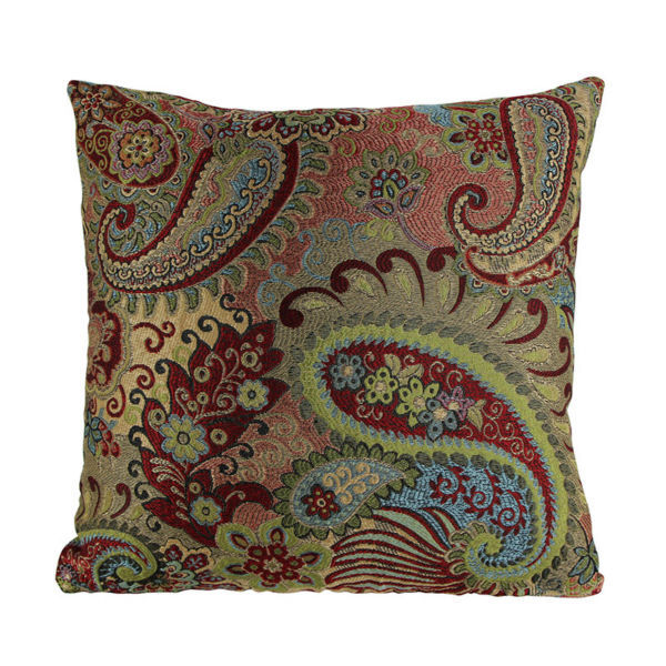 Jacquard Decorative Pillows : 2015 Jacquard Paisley Accent Decorative Throw Pillows Multicolor Floral and Crescent Cushion ...