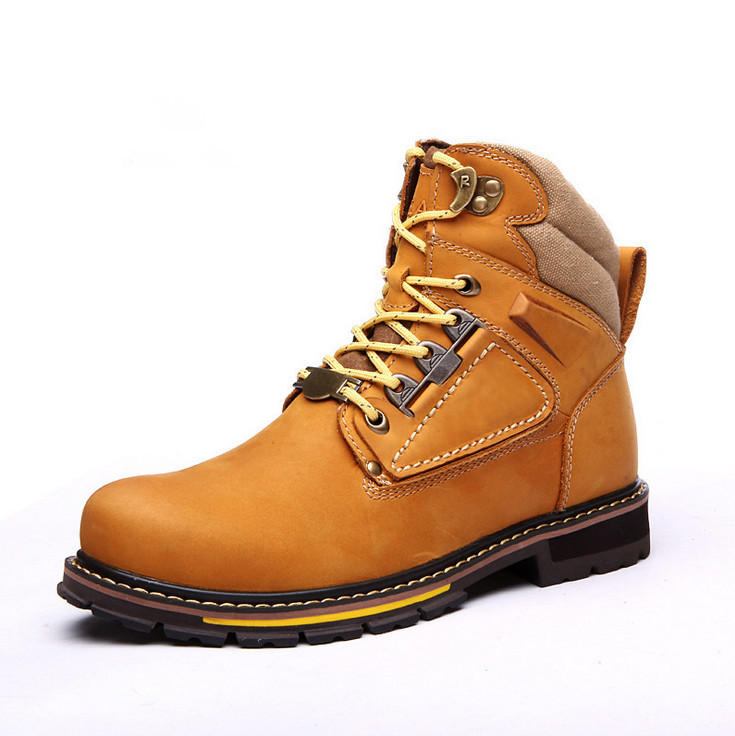 Super Warm Men's Winter Leather Boot Men Outdoor Waterproof Rubber Snow boots Leisure hiking Boots England Retro shoes for mens(China (Mainland))