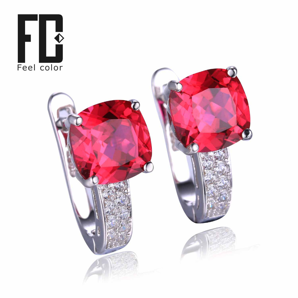 Pigeon Blood Red Ruby Engagement Wedding Earrings Clip Solid 925 Sterling Solid Silver Square Cut Hot Sale