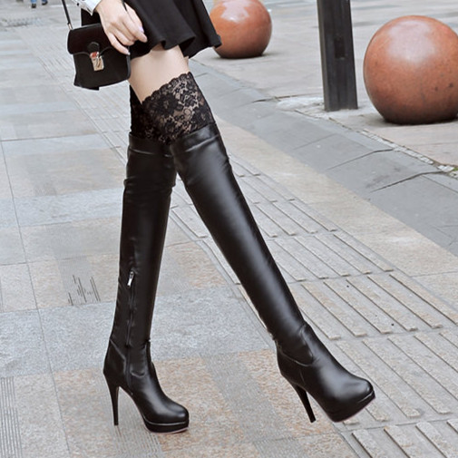 The European leg of the new autumn and winter shoes sexy lace slim thigh boots waterproof boots boots with a fine Knight(China (Mainland))