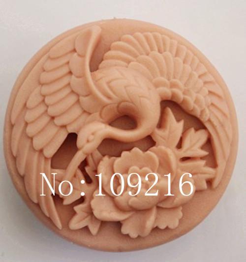 wholesale!!!1pcs Crane&Peony (zx802) Silicone Handmade Soap Mold Crafts DIY Mould(China (Mainland))