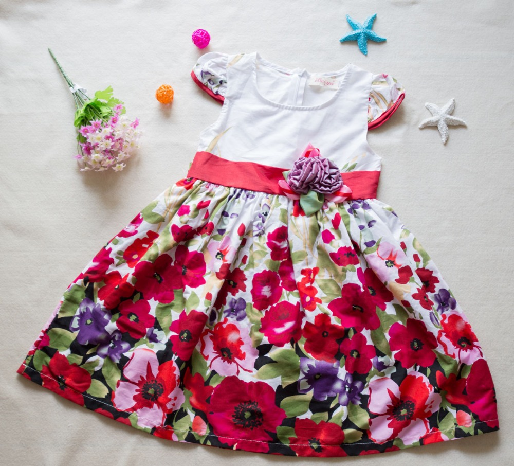 Summer style 2015 New Casual Cotton girl dress,short-sleeve baby girls clothes Flower girl dresses vestido infantil kids clothes(China (Mainland))