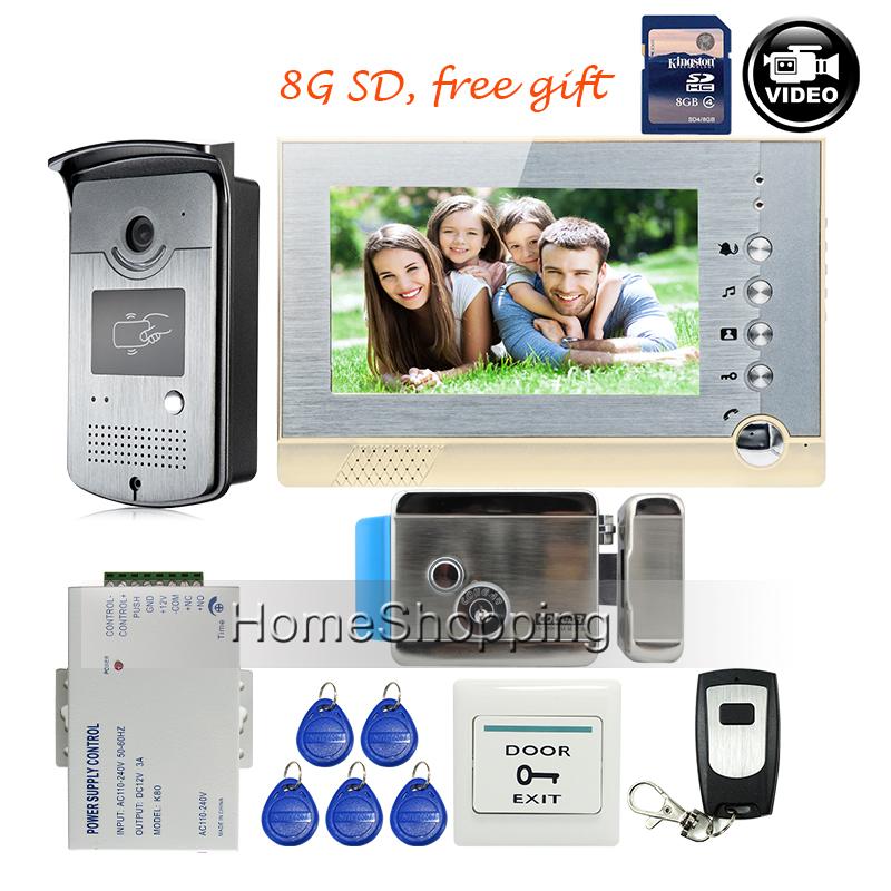"Free Shipping BRAND 7"" Color Screen Video Intercom Door Phone Record Kit + RFID Reader Access Doorbell Camera + 8G SD + E-lock(China (Mainland))"