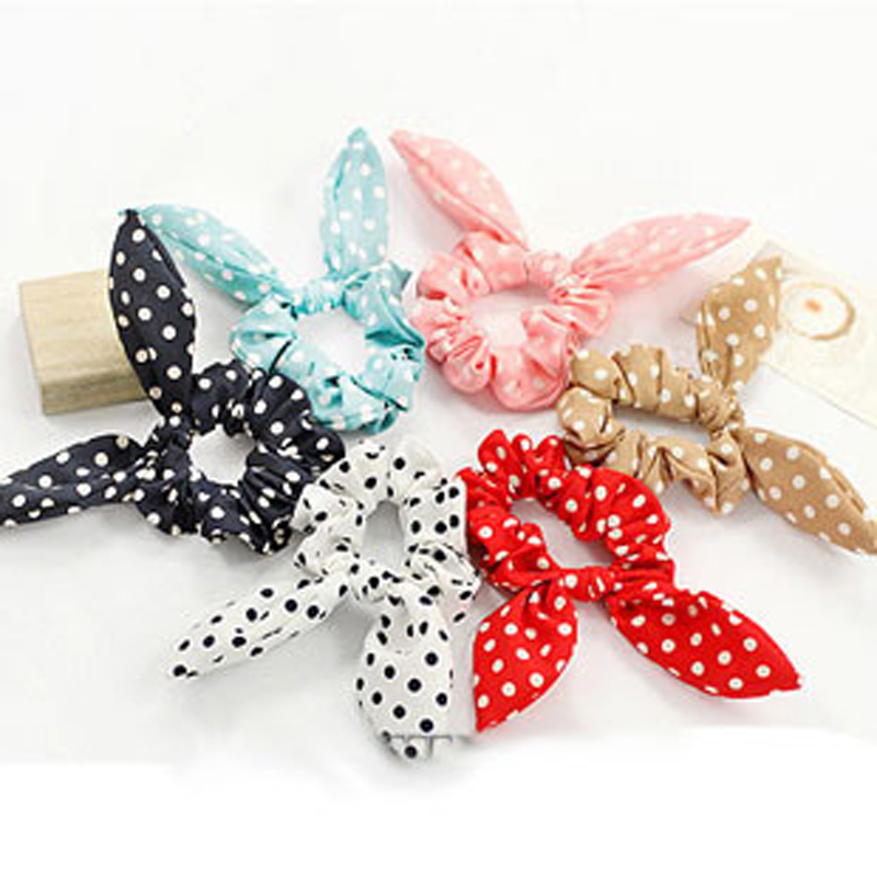50PC Rabbit Ears Polka Dot Ties Elastic Hair Bands For Girl Women Rubber Band Headband Fast Bun Gum For Hair Accessories Hot(China (Mainland))