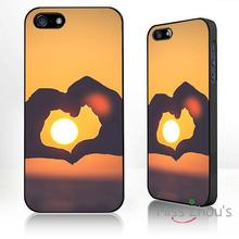 For iphone 4/4s 5/5s 5c SE 6/6s plus ipod touch 4/5/6 back skins mobile cellphone cases cover Heart sunset