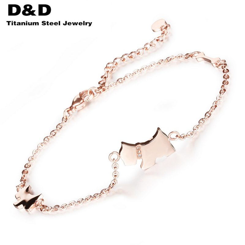 2016 Cute Dog Design Woman Anklets Fashion Trendy Rose Gold Plated Stainless Steel Delicate Women Ankle Bracelet GZ011TYA(China (Mainland))