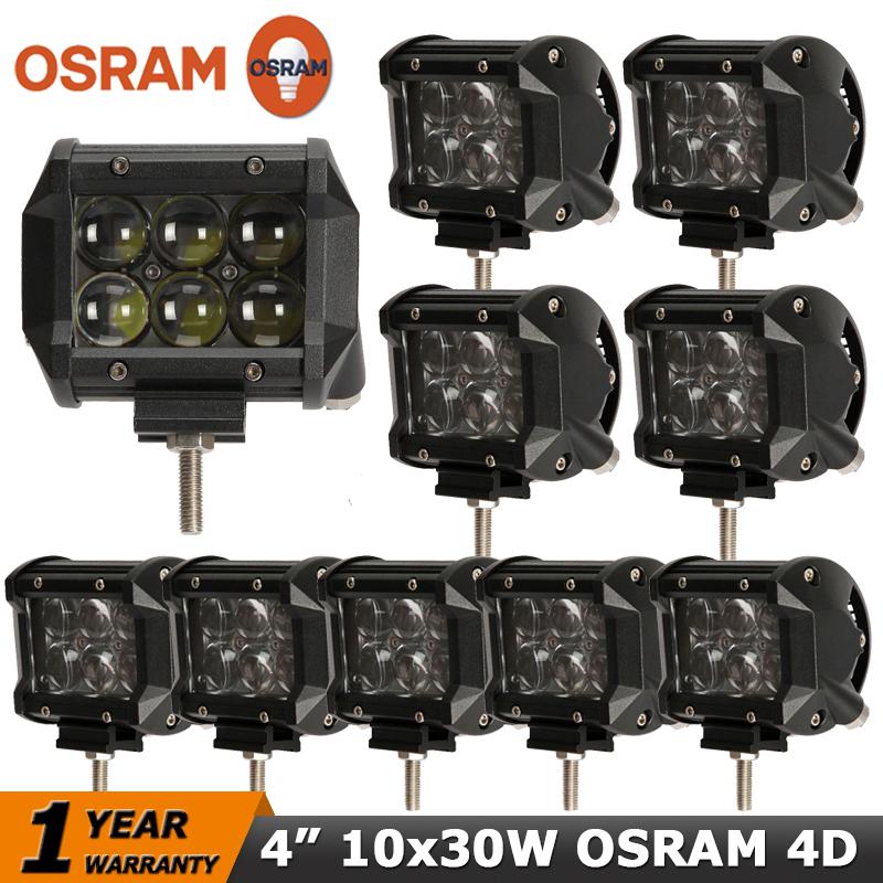 10PCS LOT 4 inch OSRAM Led Work Light 30W Car LED Driving Offroad Light Bar Spot