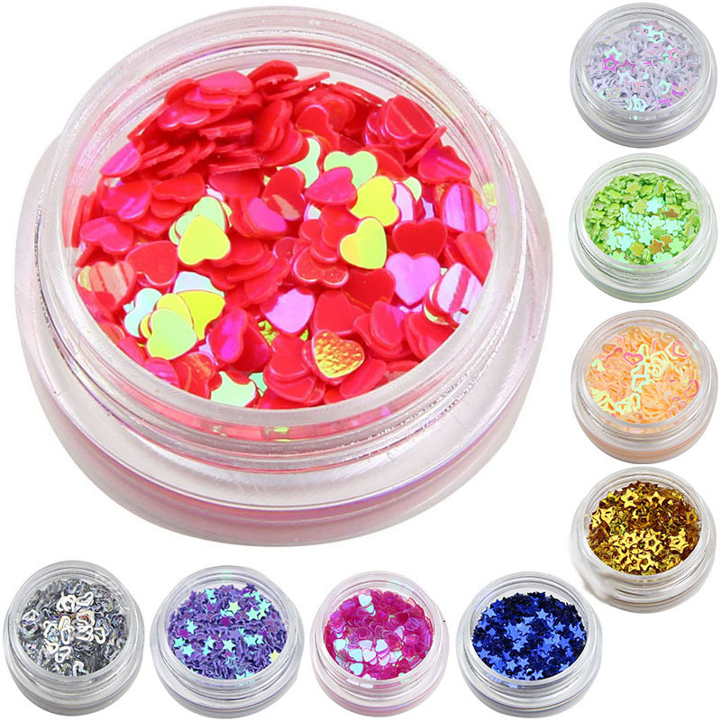 12 Color Mix Gel Glitter Dust Powder Heart Star Shape Nail Glitters Finger Nail Cell Phone DIY Material Supplies WY215(China (Mainland))