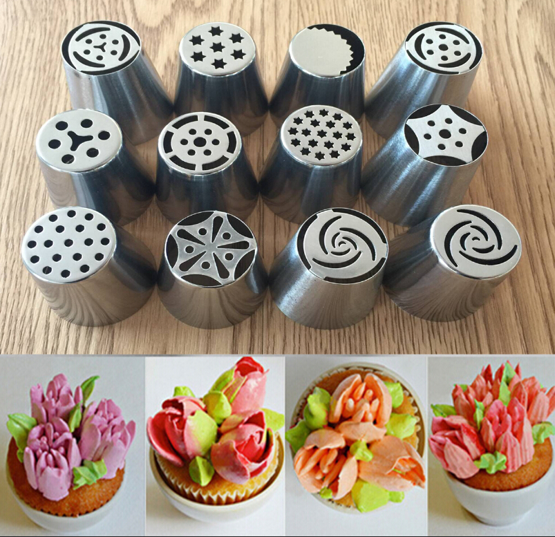 Cake Decorating Pastry Tips : 12pcs/lot Russian Tulip Stainless Steel Icing Piping Nozzles Pastry Decorating Tips Cake Cupcake ...