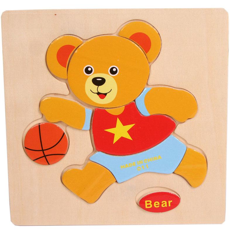 New Wooden Bear Puzzle Educational Developmental Baby Kids Training Toy Children Toys Kid Gift Educaiton Puzzles Toy(China (Mainland))