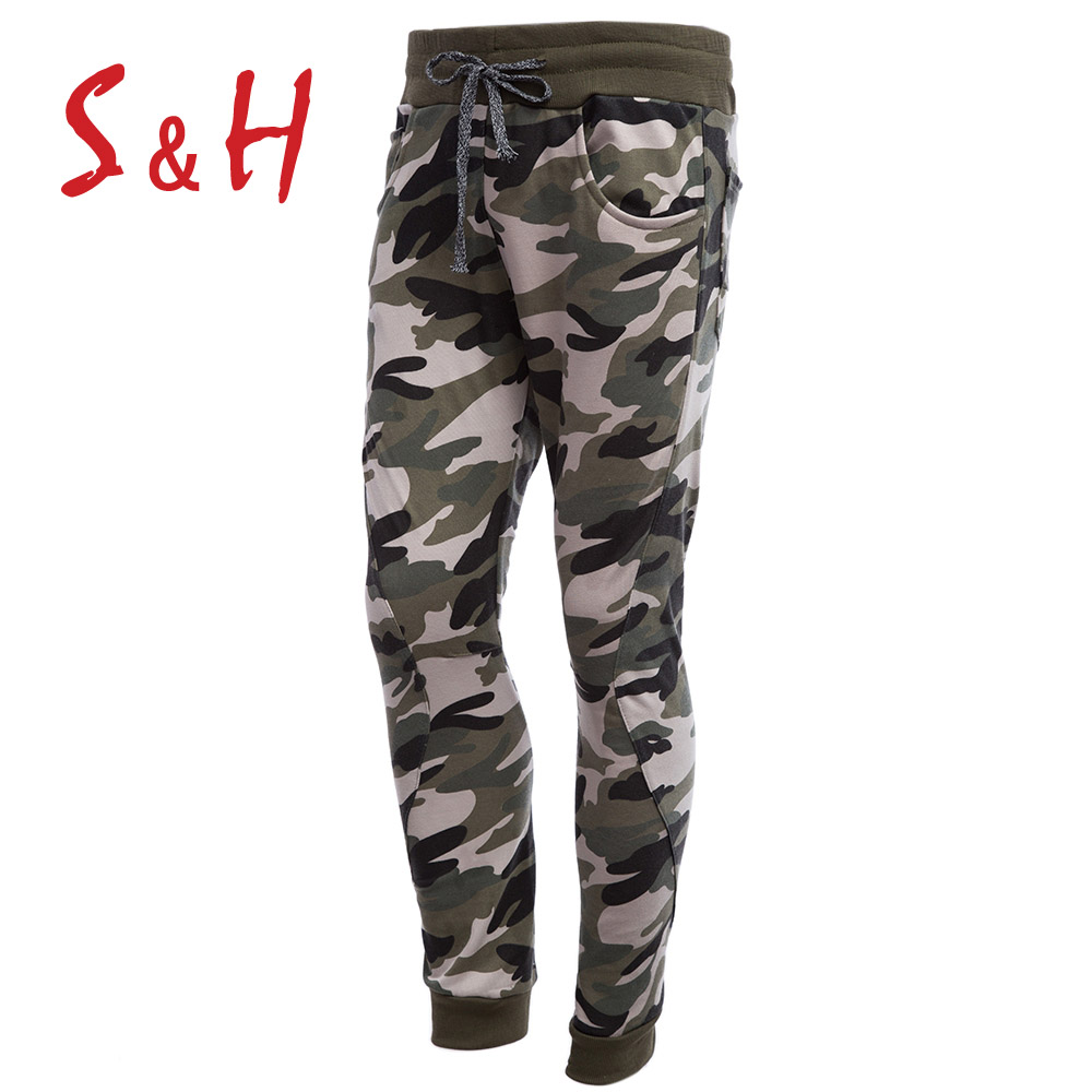 Men Skinny Sweatpants Play Well Go Out Trousers Sweatshirt Pants Pocket Design Camouflage Elastic Band Ankle Banded Male Pants(China (Mainland))