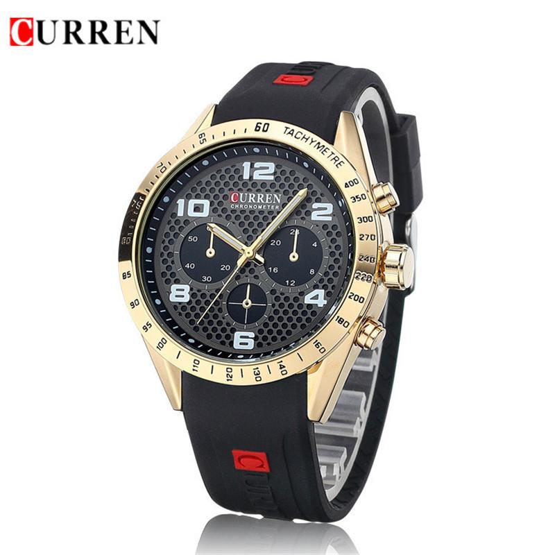 2016 Relojes De Marca Esportivo CURREN Fashion Casual Anolog Quartz Men Sport Watch Black Militray Watch Silicone Rubber Watch<br><br>Aliexpress