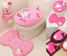 2015 NEW Hello Kitty Bathroom Sanitary Sitting Toilet Seat Cushion ring+ Floor Mat  + Closestool Cover Cover+Tissue holders 4PCS(China (Mainland))